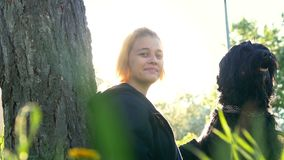 A young women with a dog sitting near a tree in the Park against the building in the sunlight. Telephoto shot stock video