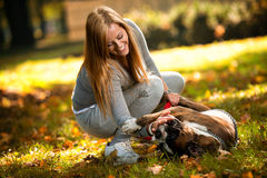 Young Women With Dog Stock Images