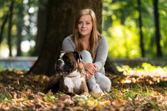 Young Women With Dog Royalty Free Stock Photo