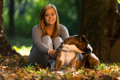 Young Women With Dog Stock Photo