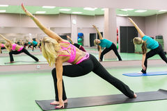 Young women doing exercises in the gym Stock Photography