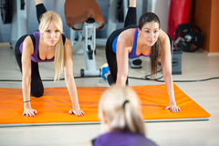 Young women doing fitness exercises royalty free stock images
