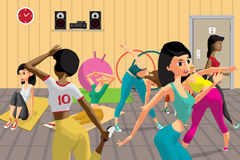 Young women doing fitness group exercises in the gym. Under the guidance of a coach. Flat cartoon  illustration Royalty Free Stock Images