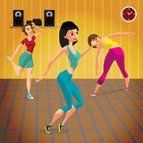 Young women doing fitness group exercises in the gym. Under the guidance of a coach. Flat cartoon  illustration Stock Photos