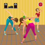 Young women doing fitness group exercises in the gym. Under the guidance of a coach. Flat cartoon vector illustration Royalty Free Stock Photos