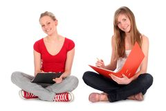 Young women doing homework Stock Photo