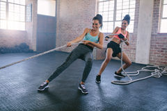 Young women doing rope pulling exercises at a gym Stock Photos