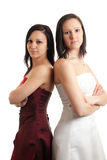 Young women dress back on back Royalty Free Stock Photography