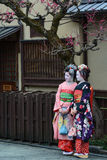 Young women dressed as geishas in Kyoto, Japan Stock Photography