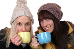 Young women drinking cup of tea in winter Royalty Free Stock Photography