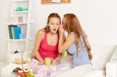 Young women drinking tea and gossiping at home Royalty Free Stock Photography