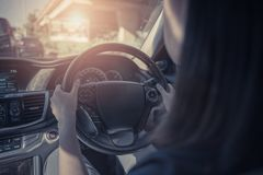 young women driving a car Stock Photo
