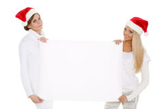 Young  women with empty board for the text. Stock Images