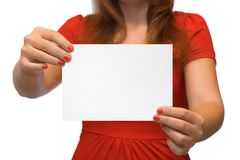 Young women with empty card Stock Photos