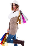 Young women enjoyed shopping a Royalty Free Stock Images