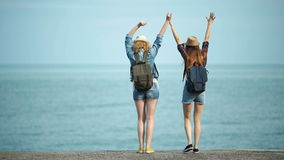 Young women enjoying and dancing on a sea shore. Female friends having fun on the beach stock video footage