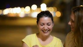 Young women enjoying night tourism stock footage