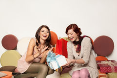 Women receiving gifts royalty free stock image