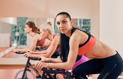 Young women on exercise bikes portrait Stock Image