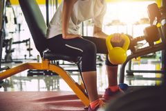 Young women exercise in a professional gym with a selection of e. Xercise equipment stock photo