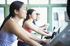 Young women exercising on fitness bikes in the gym Stock Image