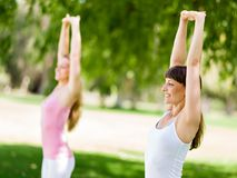 Young women exercising in the park. Healthy and fit young women doing fitness and Exercise in the park Royalty Free Stock Images