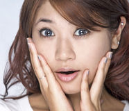 Young women - expression. Picture of young model with face expression-surprise Royalty Free Stock Images