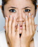 Young women - expression afraid. Picture of young model with face expression Stock Photography