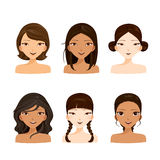 Young women faces with various hairstyles and skin set. Hair colors ladies fashion beauty Stock Photo