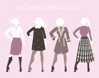 Young women in fashion clothing.Woman dresscode vector  Royalty Free Stock Photo