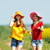 Young women on field in summer Stock Photography