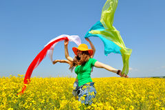 Young women on field in summer Stock Photo
