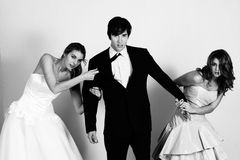 Free Young Women Fighting Over A Man Royalty Free Stock Images - 15082529