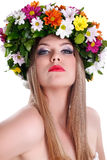 Young women with floral wreath Royalty Free Stock Photos