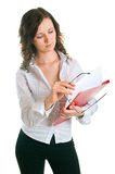 Young women with a folder Royalty Free Stock Images