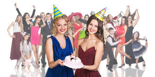 Young women foreground with people crowd Royalty Free Stock Photo