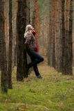 Young  woman in forest Stock Image