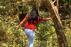A young women in forest. royalty free stock images