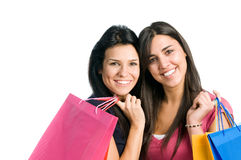 Young women friends doing shopping Royalty Free Stock Photo