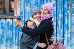 A young friends in a knitted hat stock photos