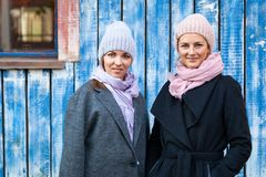 A young friends in a knitted hat royalty free stock images