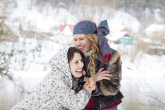 Young women funny laughing. Outdoor in winter royalty free stock photos
