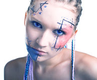 Young women with geometrical makeup Royalty Free Stock Image