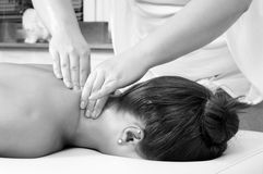 Young women getting neck massage Stock Photos