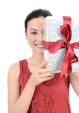 Young women with gift Stock Photography
