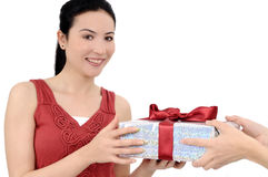 Young women with gift Stock Photos