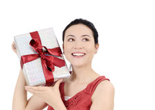 Young women with gift Royalty Free Stock Photography