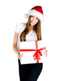 Young women with the gift Royalty Free Stock Image
