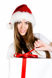 Young women with the gift Royalty Free Stock Photos