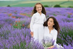 Young woman and girl are in the lavender field, beautiful summer landscape with red poppy flowers Stock Images